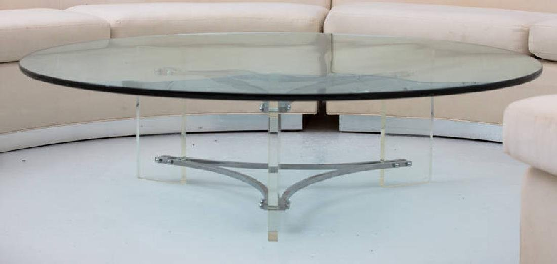 Large Glass, Steel and Lucite Coffee Table - 3