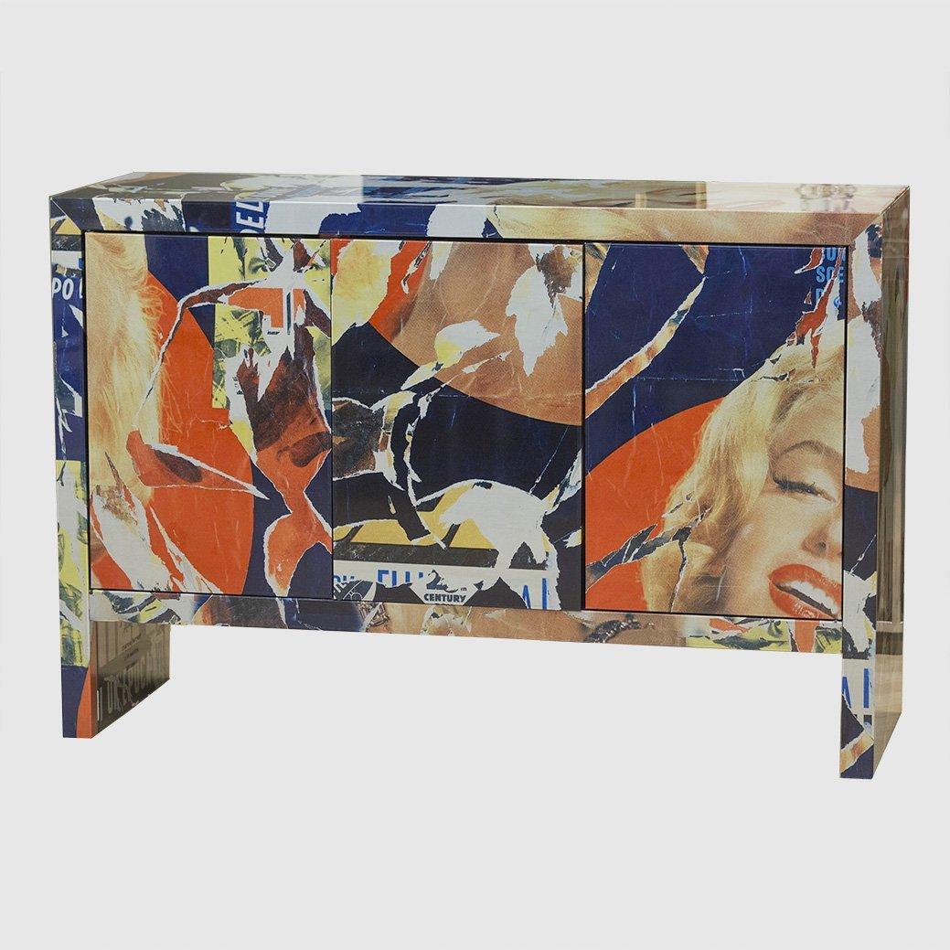 "Mimmo Rotella Art Cabinet ""Marylin Monroe"""