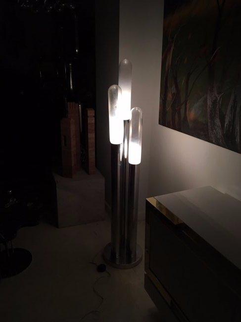 Mazzega Chromed Steel and Glass Floor Lamp - 6