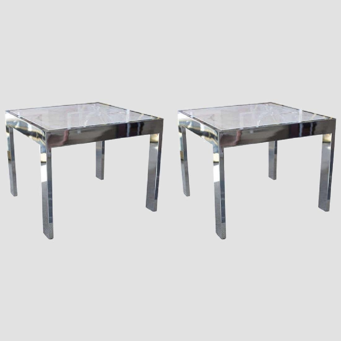 Marble and Steel Side Tables