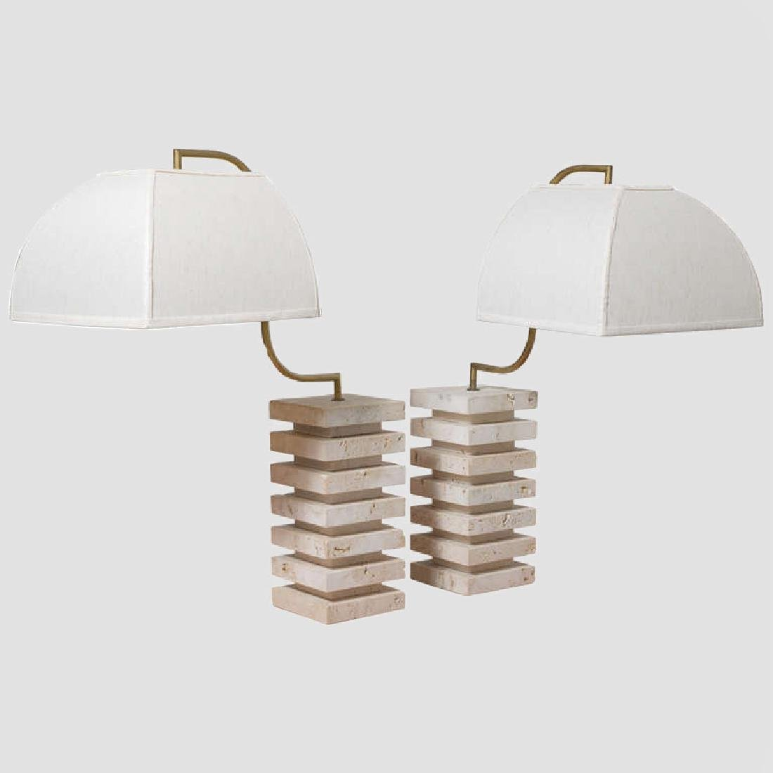 Italian Travertine and Brass Table Lamps