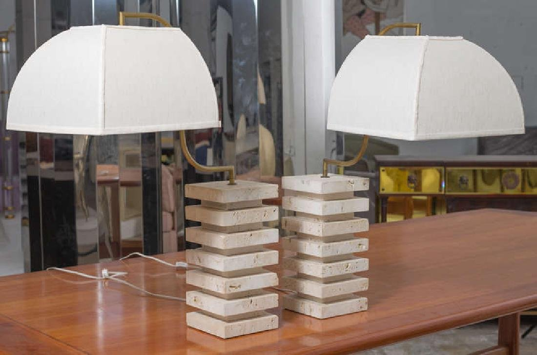 Italian Travertine and Brass Table Lamps - 2