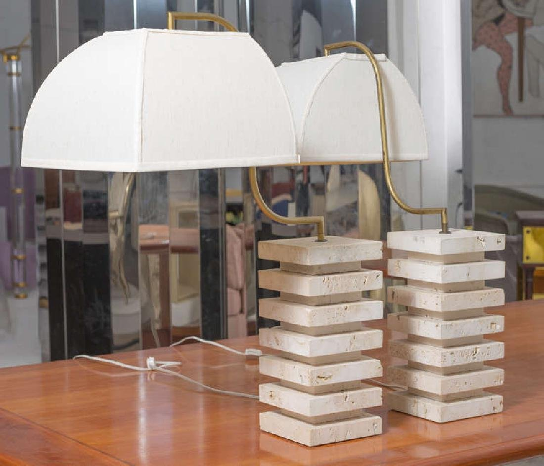 Italian Travertine and Brass Table Lamps - 3