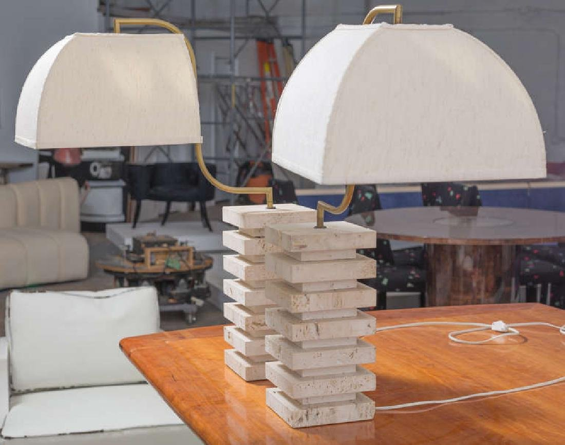 Italian Travertine and Brass Table Lamps - 4