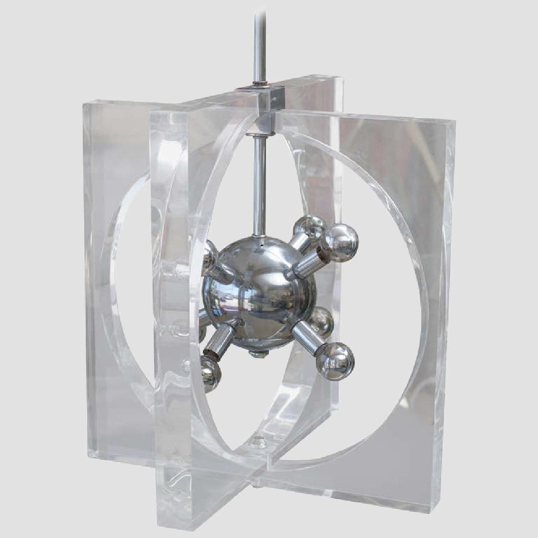 1970s Lucite and Chrome Chandelier