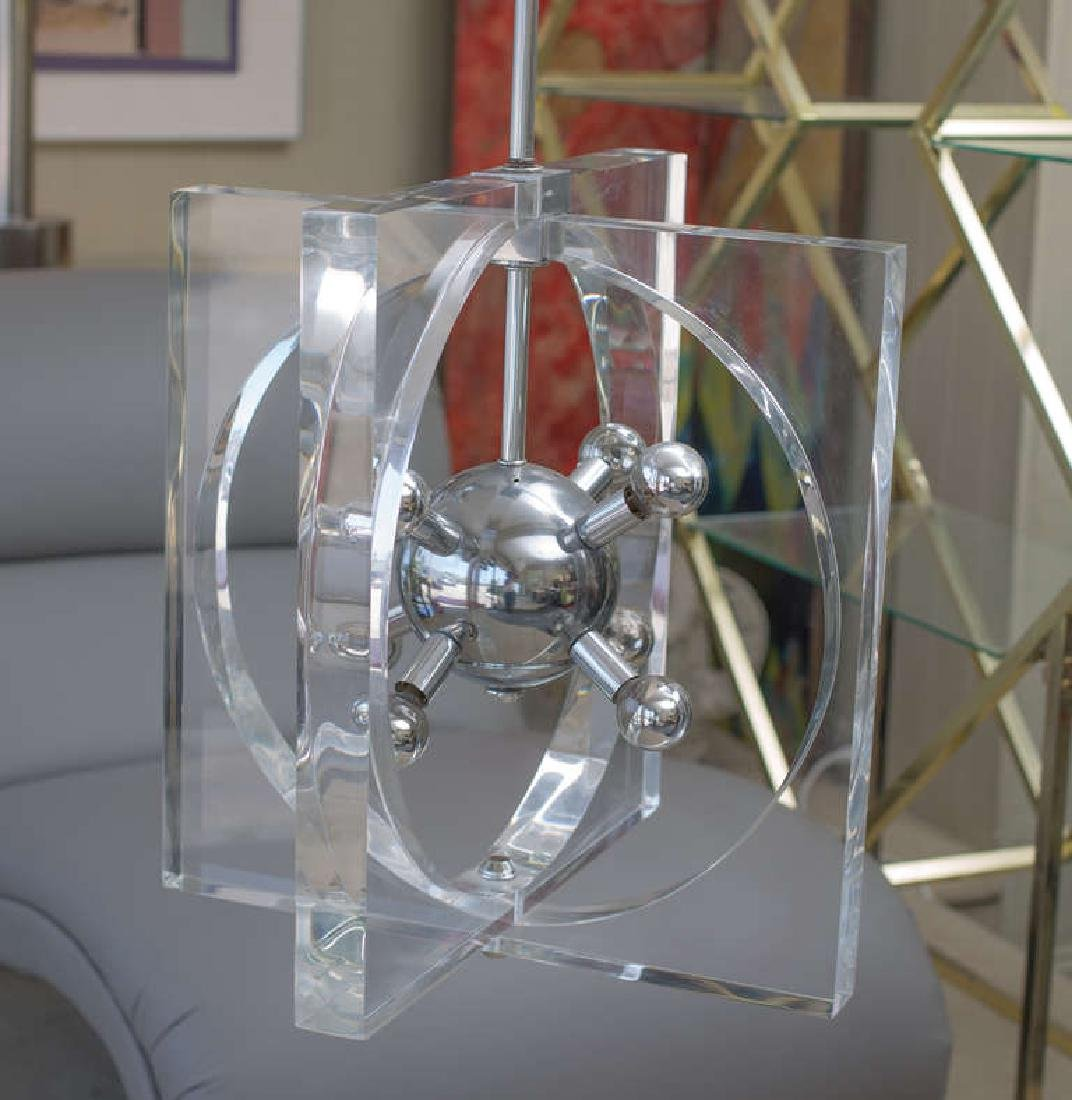 1970s Lucite and Chrome Chandelier - 2