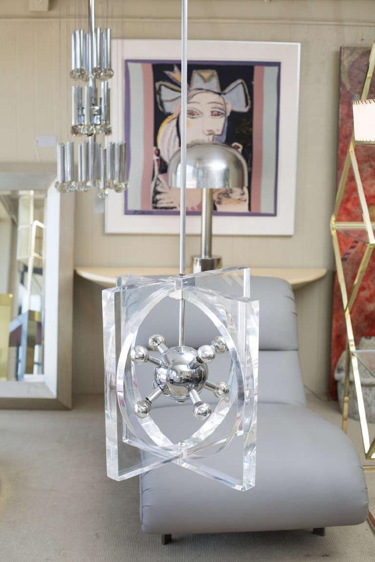 1970s Lucite and Chrome Chandelier - 3