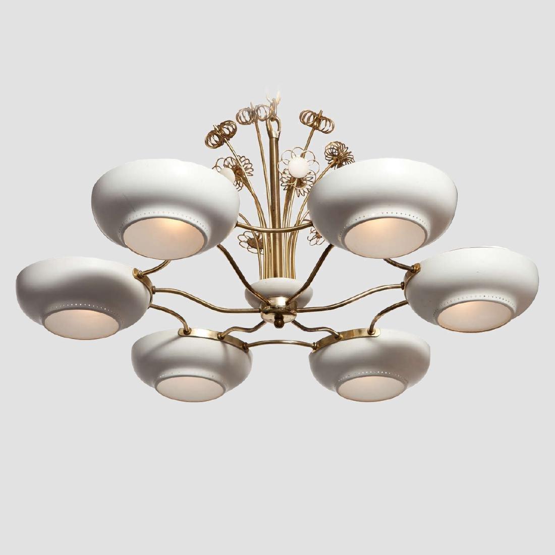 Lightholier Six Lights Brass and Enameled Metal