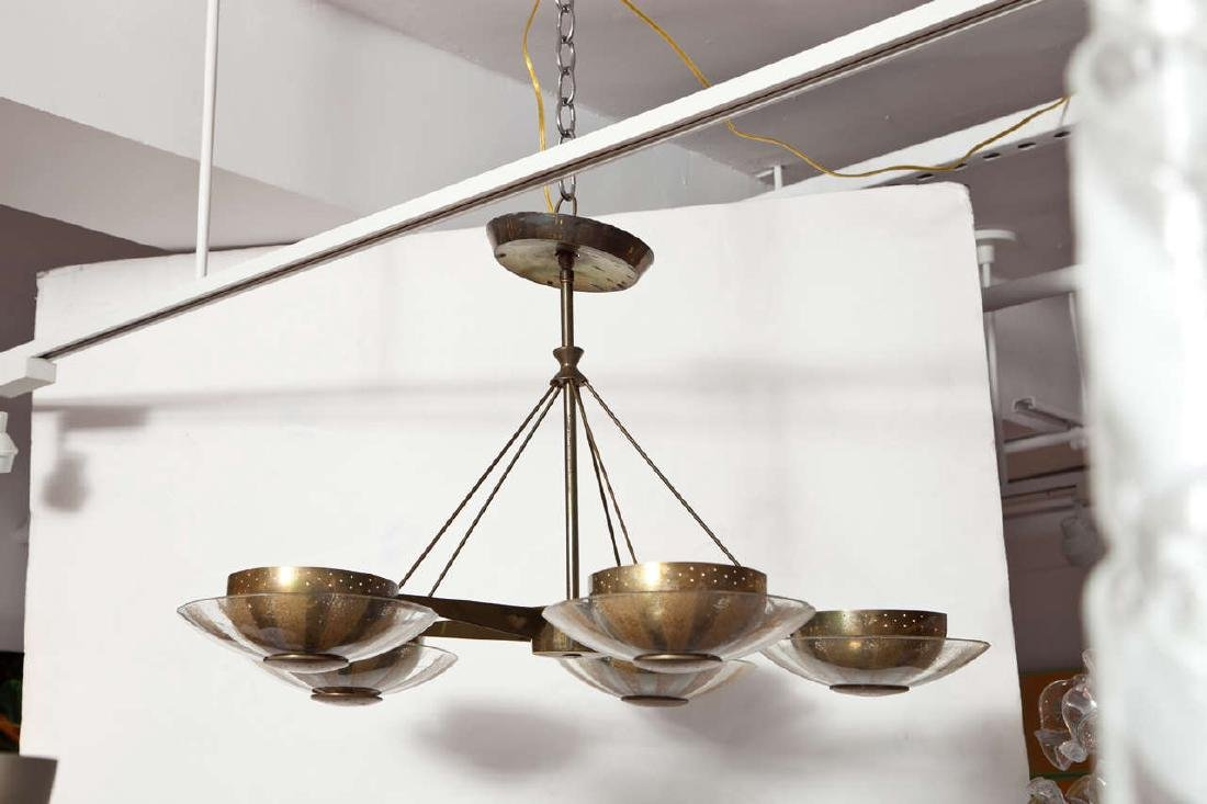 Gerald Thurston Brass and Glass Chandelier - 2
