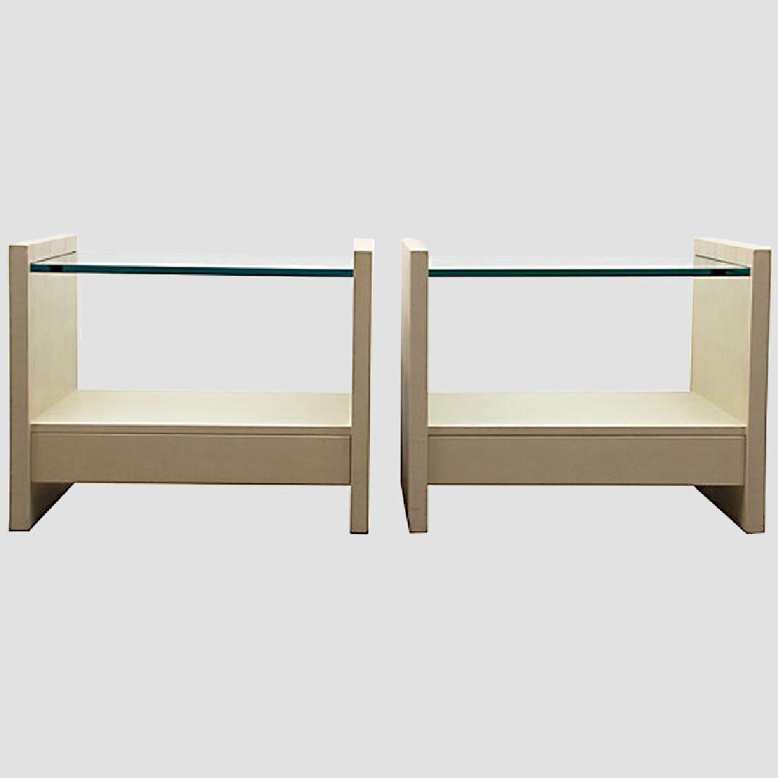 """Karl Springer """"Solid Side"""" Leather Tables"""