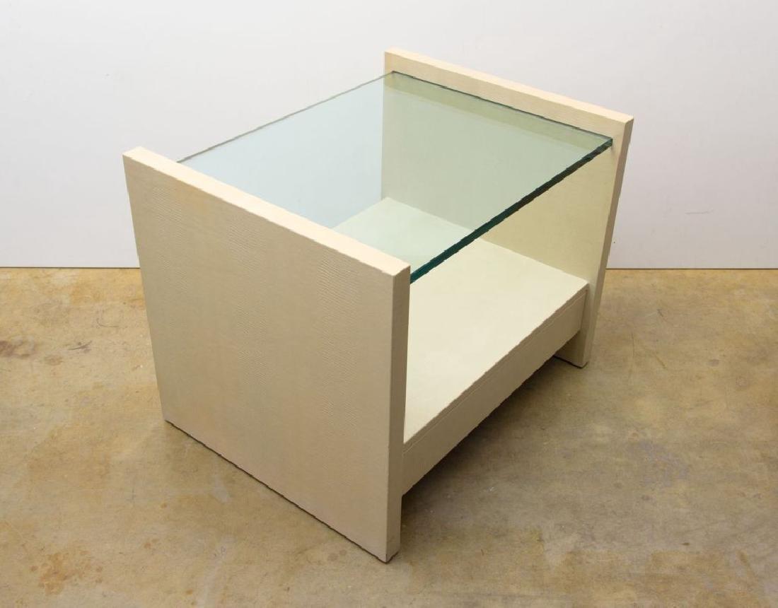 """Karl Springer """"Solid Side"""" Leather Tables - 4"""