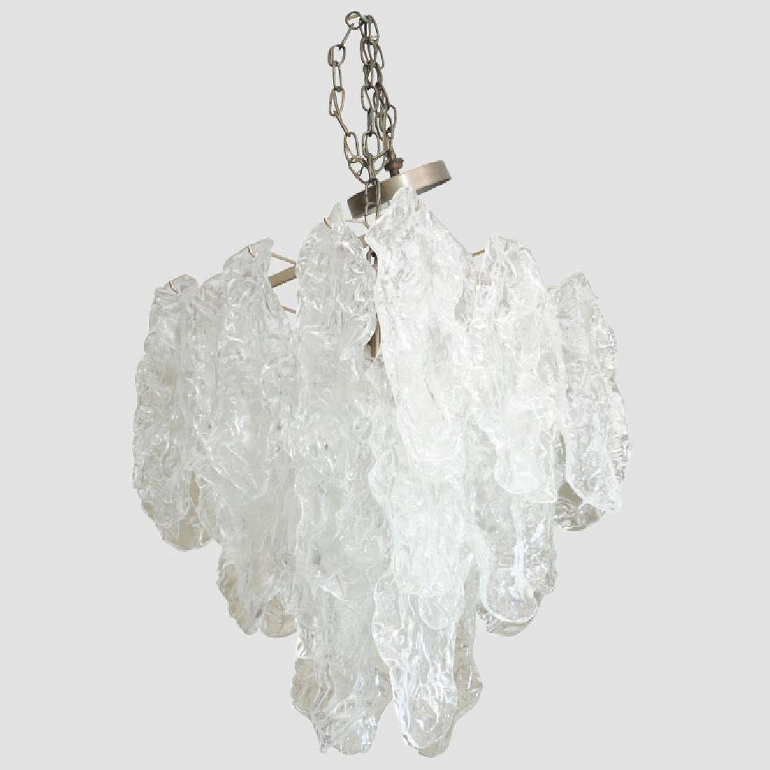 Murano Ice Glass Pendant by Mazzega