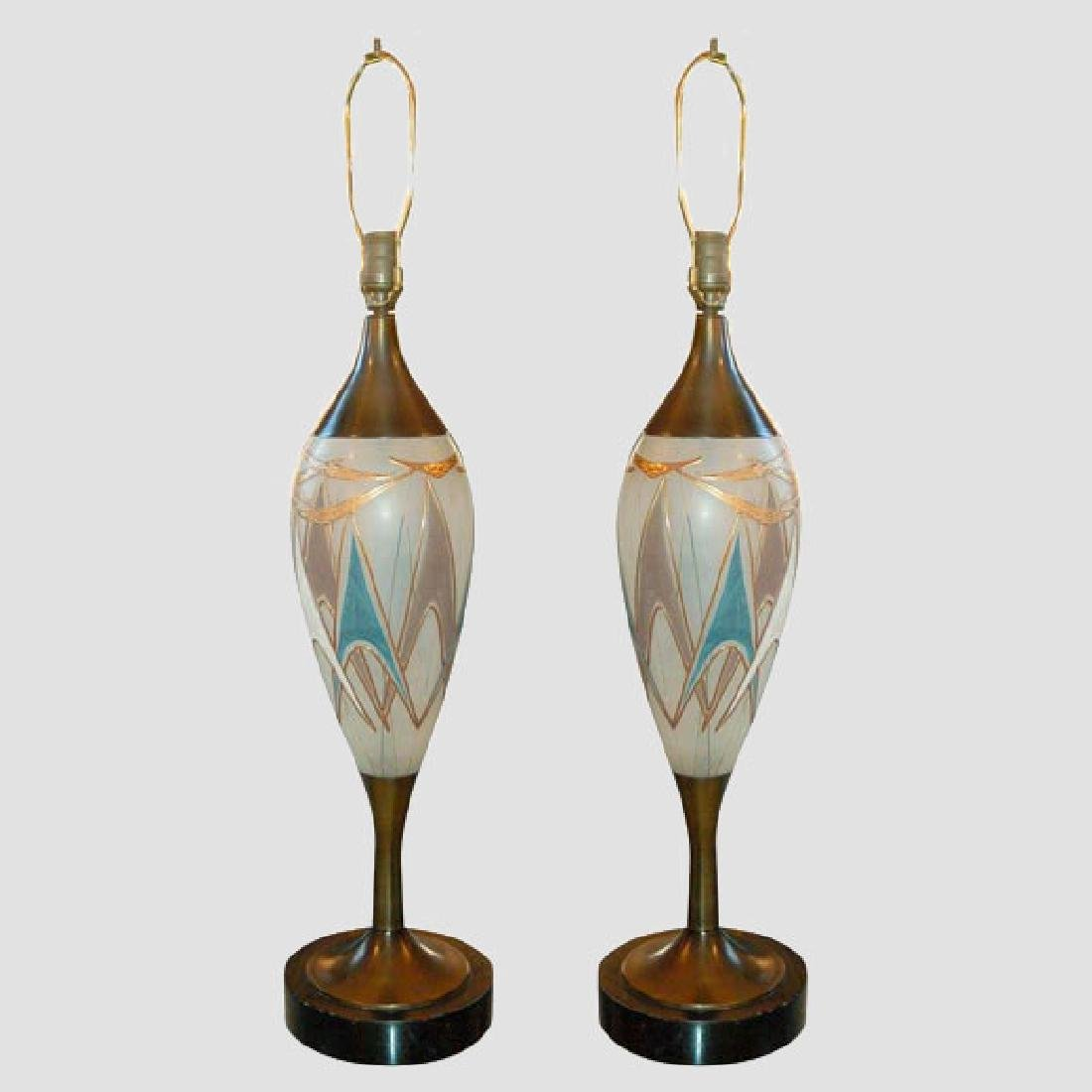 50's Glass and Brass Table Lamps