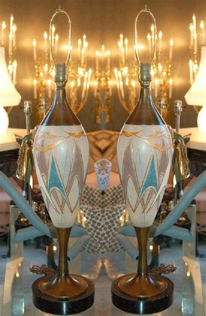 50's Glass and Brass Table Lamps - 2