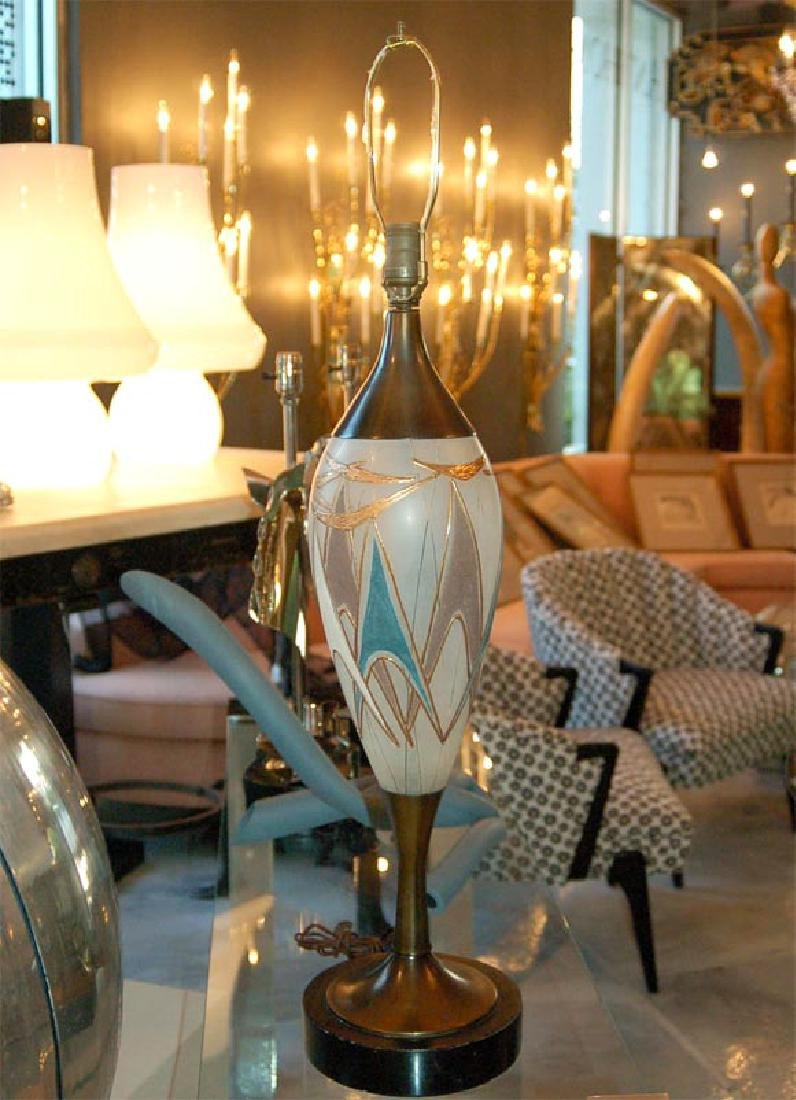 50's Glass and Brass Table Lamps - 3