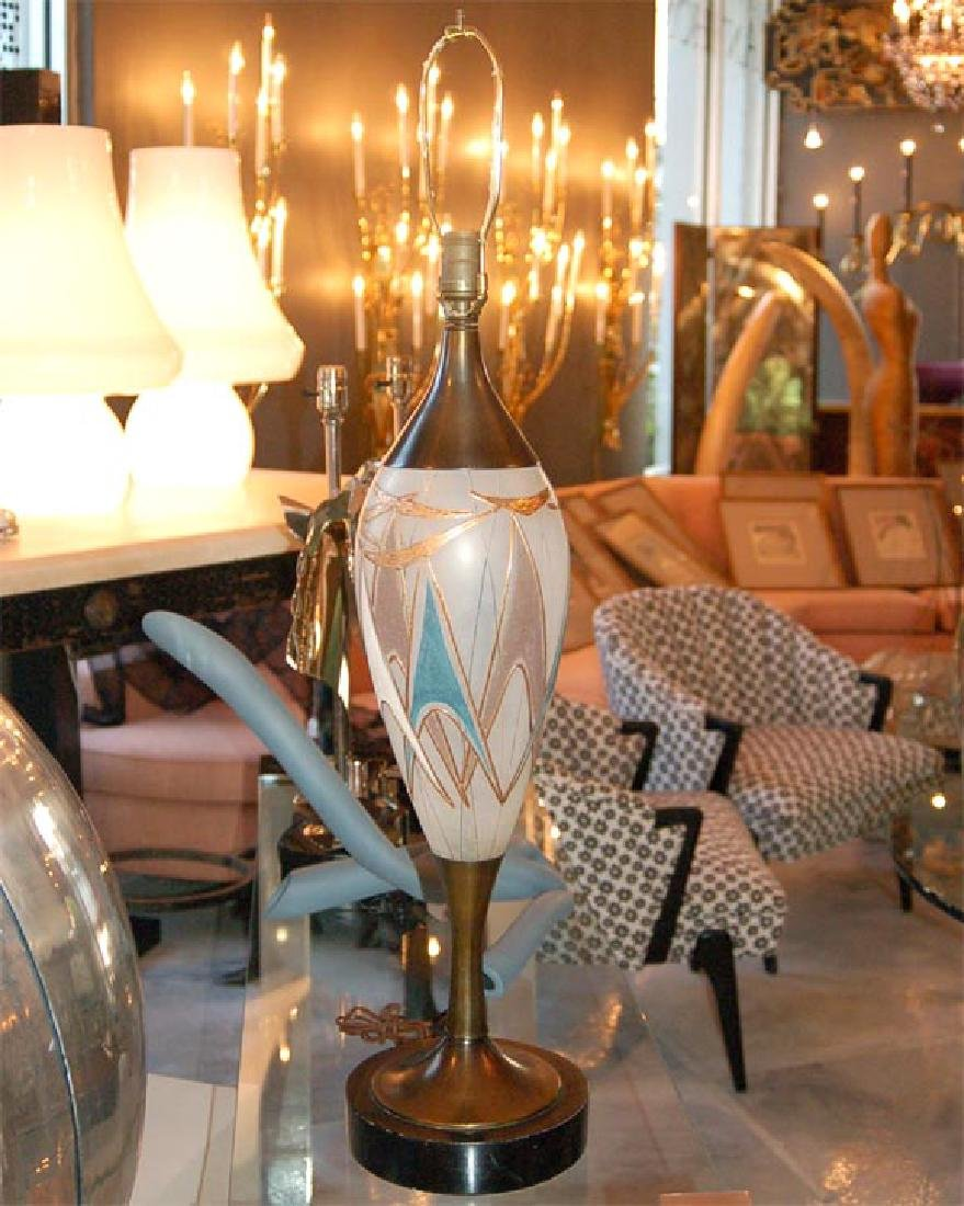 50's Glass and Brass Table Lamps - 4