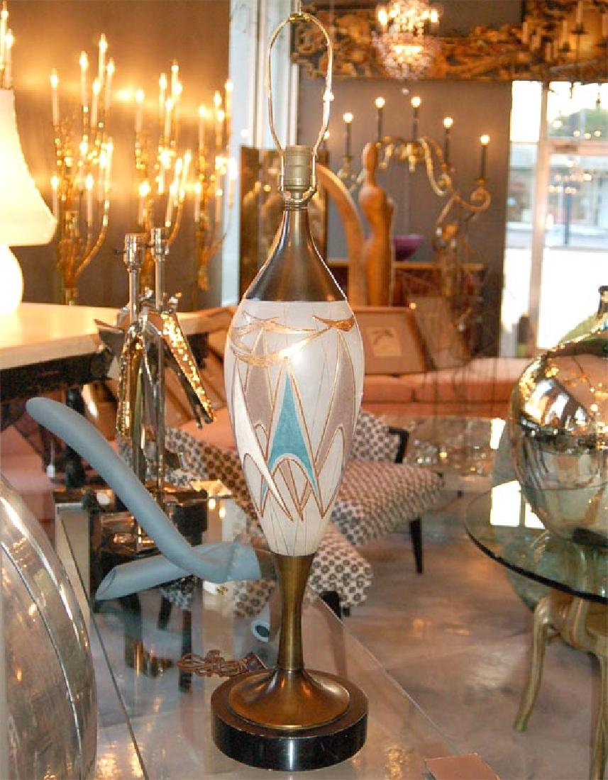 50's Glass and Brass Table Lamps - 5