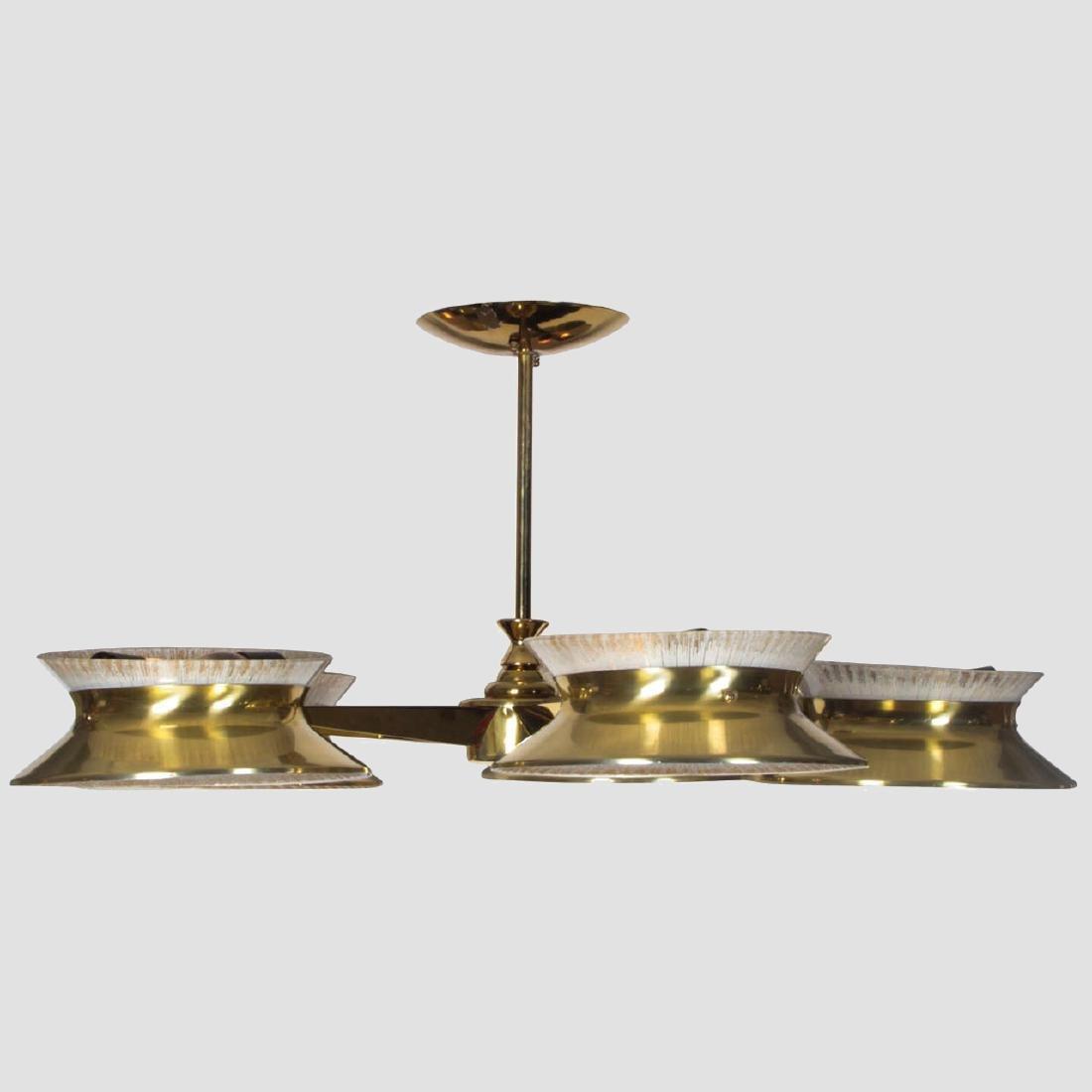 Five Arm Brass Chandelier by Lightolier