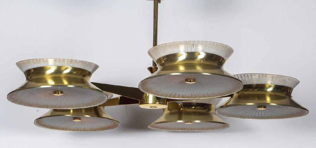 Five Arm Brass Chandelier by Lightolier - 3
