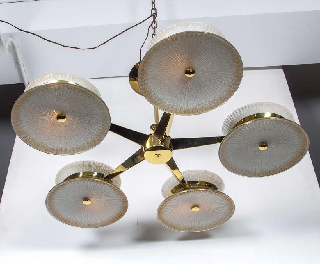 Five Arm Brass Chandelier by Lightolier - 5