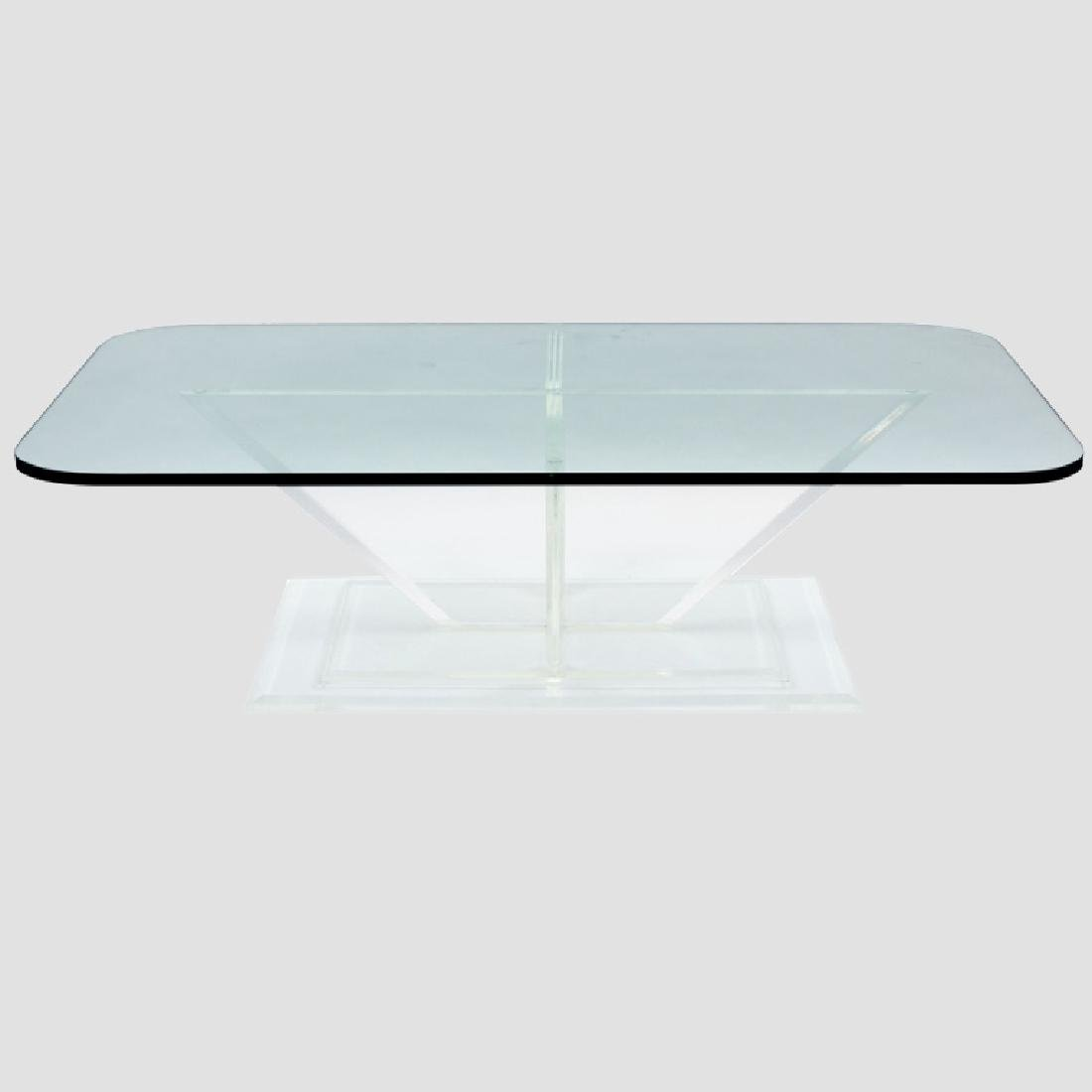 Sculptural Lucite and Glass Cocktail Table
