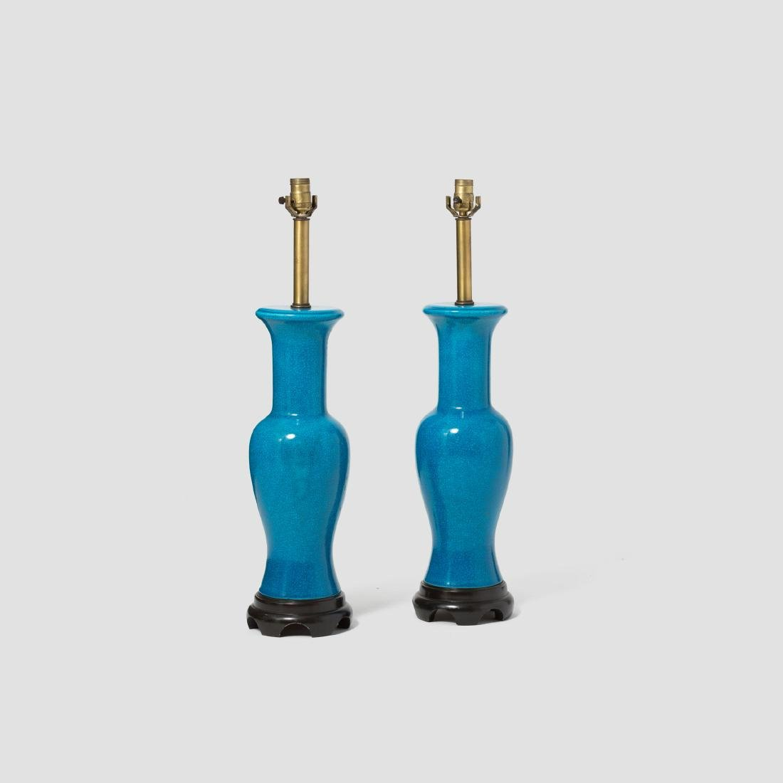 Pair of Fredric Cooper Blue Table Lamps