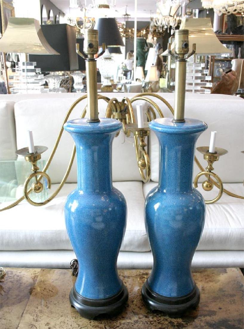 Pair of Fredric Cooper Blue Table Lamps - 2