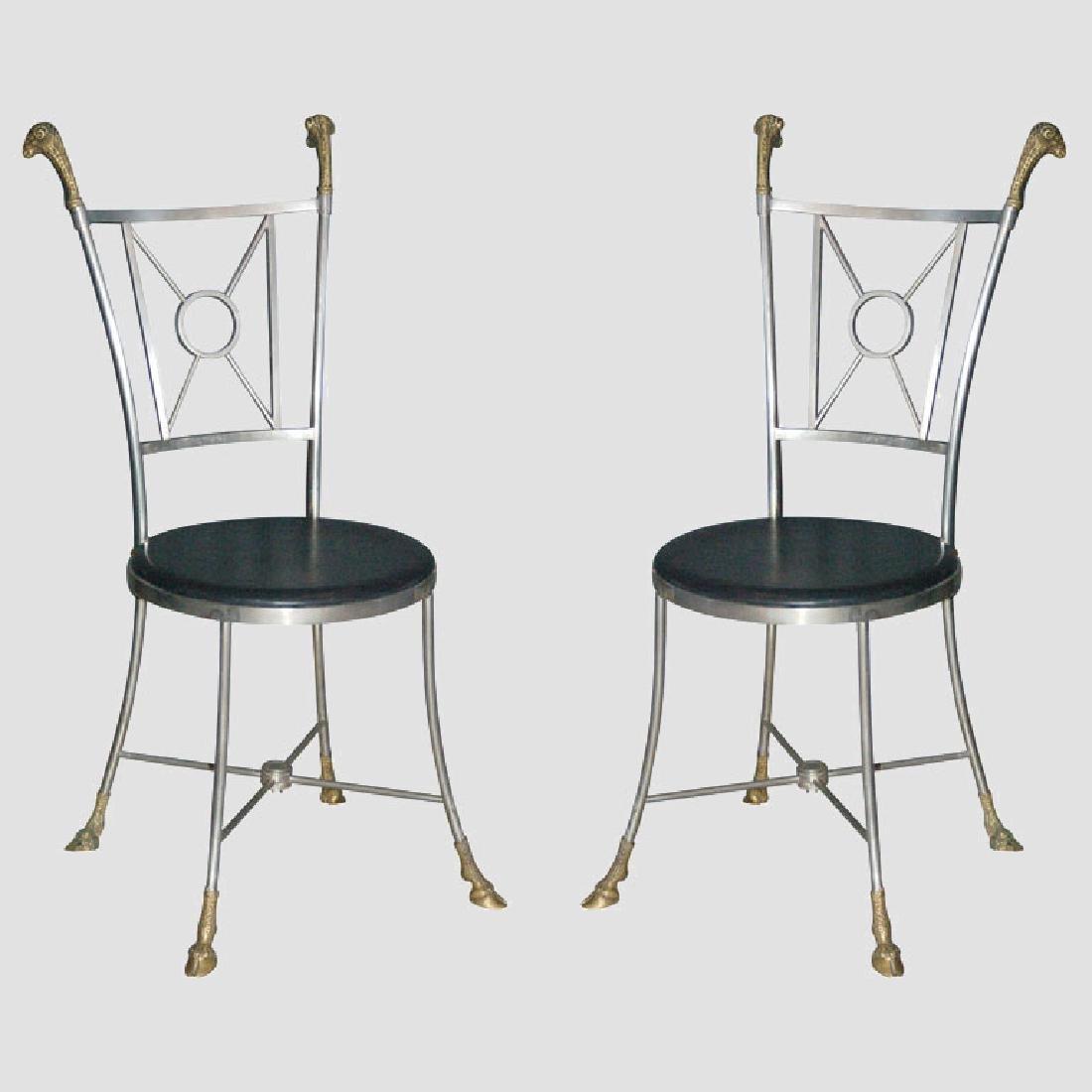 Maison Jansen Steel & Brass Chairs