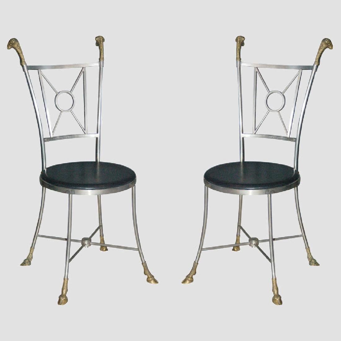 Maison Jansen Steel & Brass Chairs