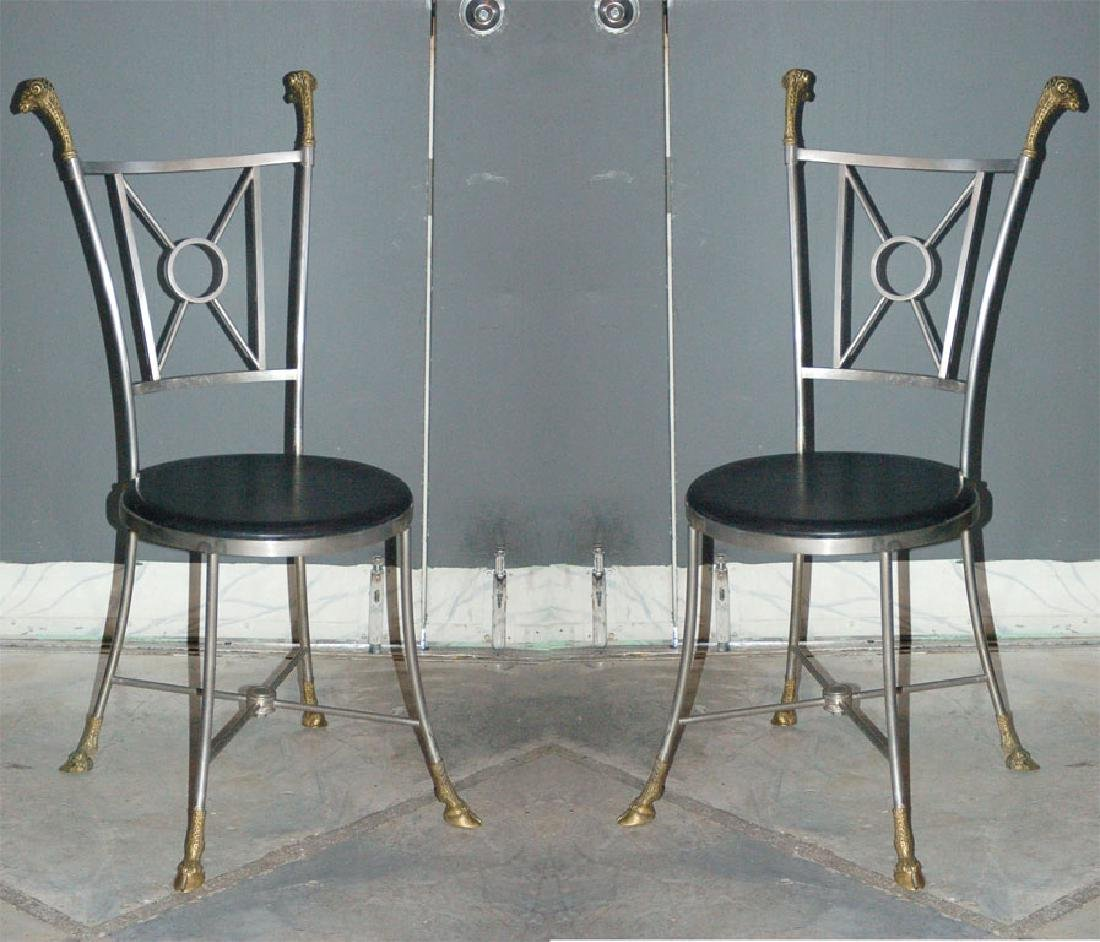 Maison Jansen Steel & Brass Chairs - 2
