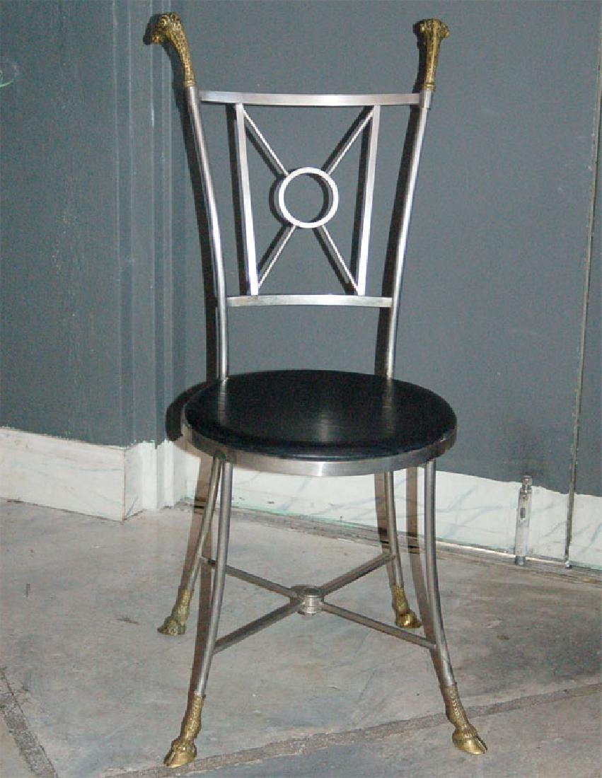 Maison Jansen Steel & Brass Chairs - 4