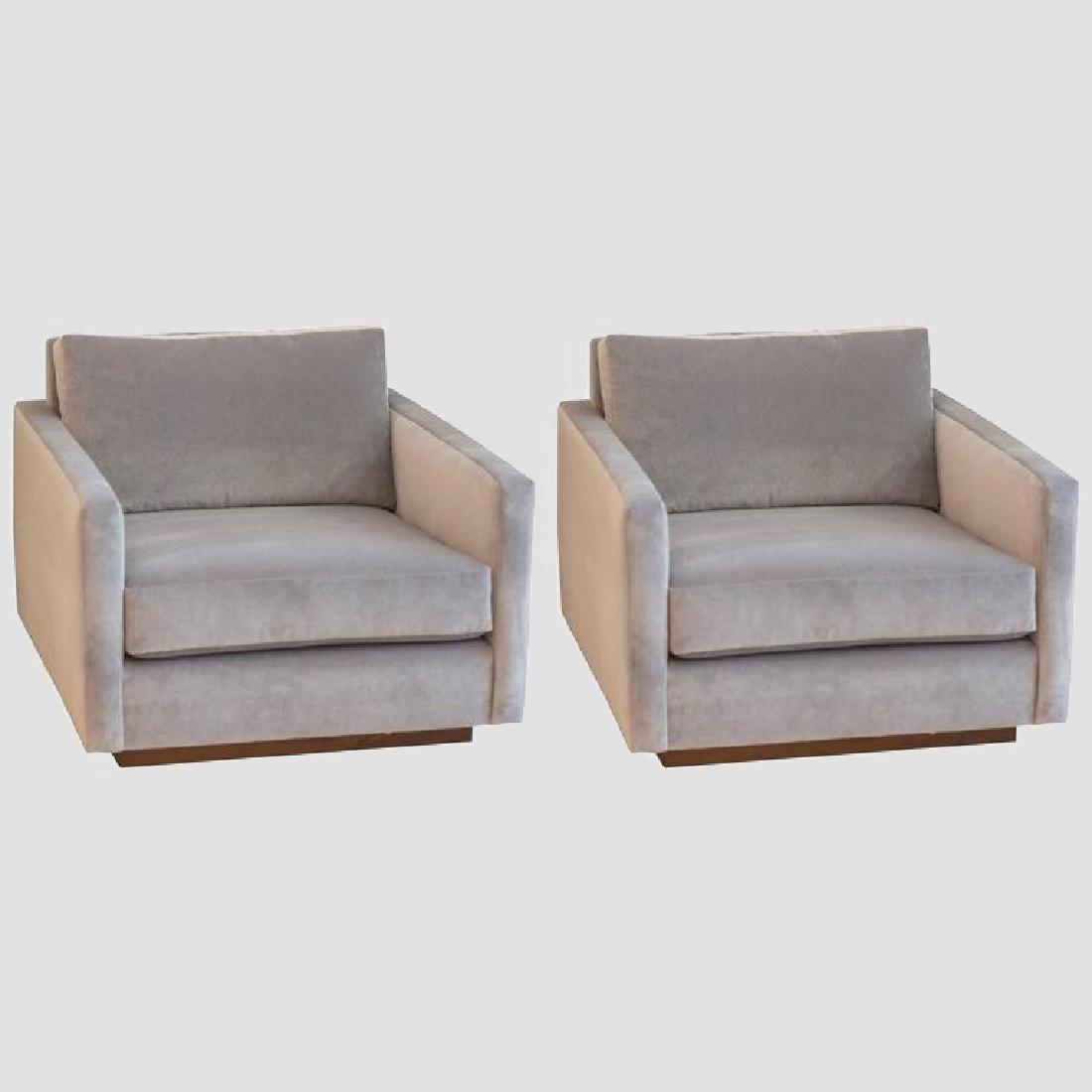 Harvey Probber Velvet Cube Chairs