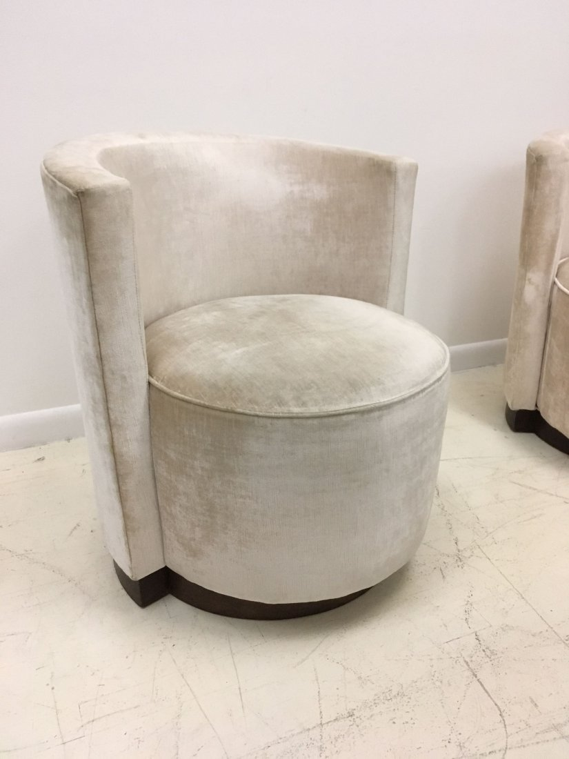 A pair of French Art Deco Barrel Back Chairs - 3