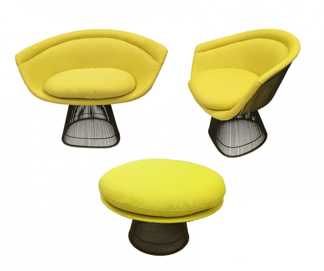 Set of Warren Platner chairs and ottoman