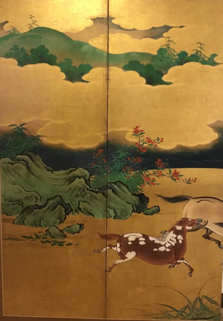 Pair of Eight Panel Horse Screens, Japan, 18/19th