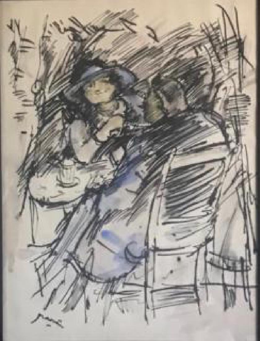 Ink and Watercolor, Cafe Scene, by Jules Pascin