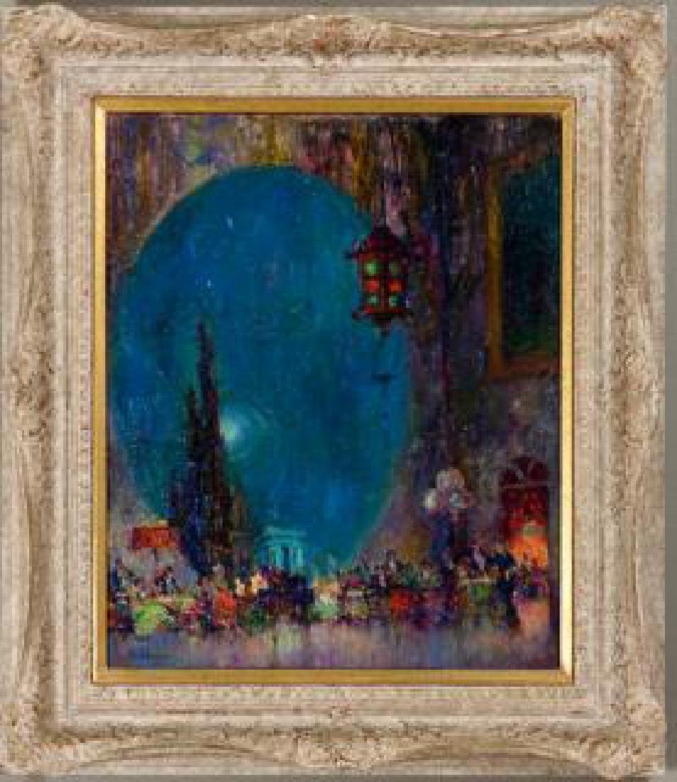 Pan-Pacific Expo at Night c. 1915, Oil on Canvas