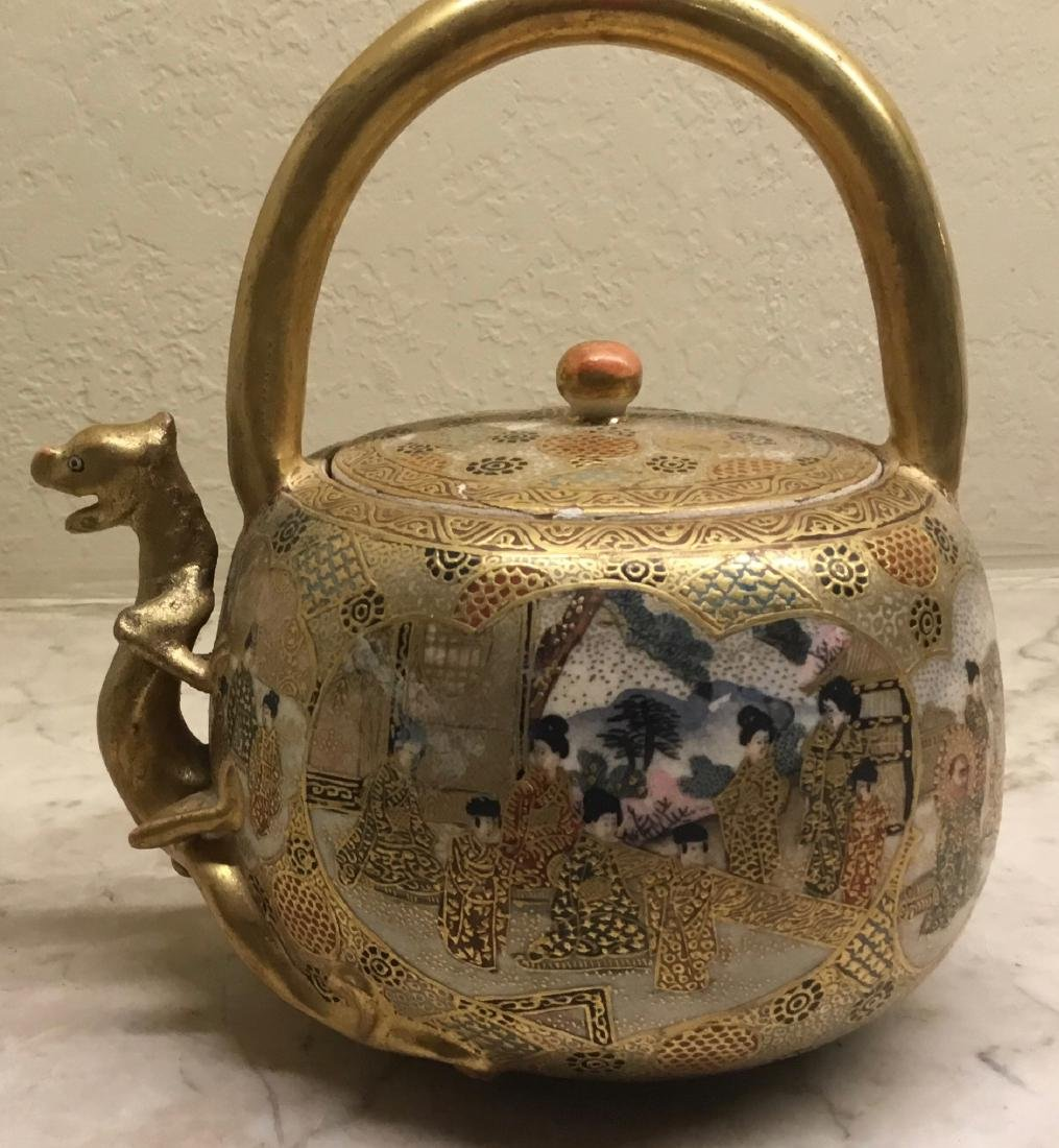 Satsuma Teapot with Dragon Spout, Meiji Period