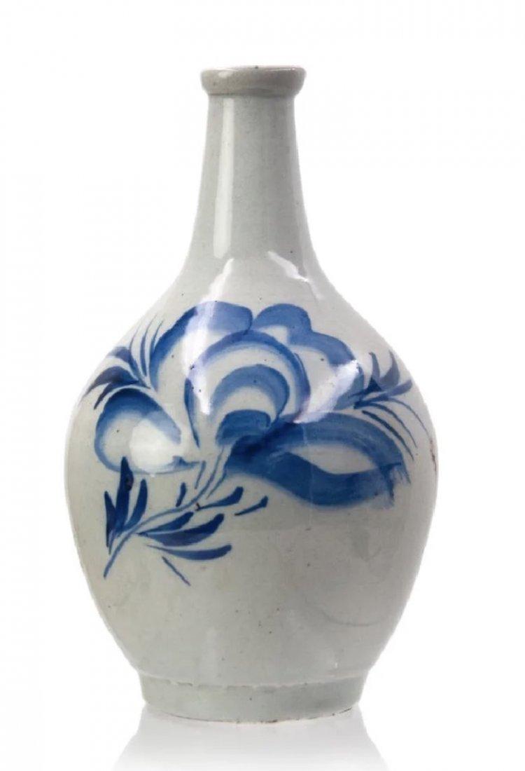 Korean Blue and White Bottle, Late Joseon Dynasty
