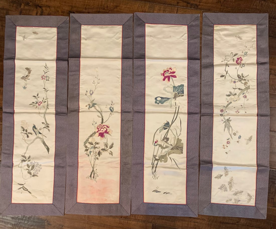 Set of 4 Chinese Silk Panels, Qing Dynasty