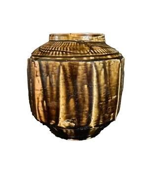 Korean Brown Glazed Hendecagon Vase, Joseon Dynasty