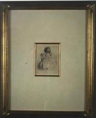 Etching, Annie Seated,by James Abbott McNeill Whistler