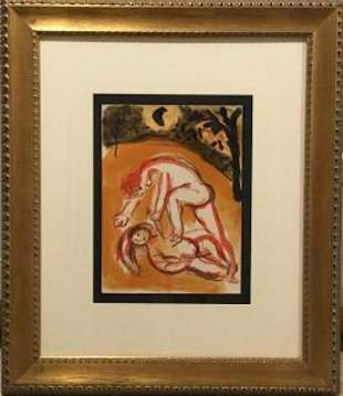 Lithograph, Cain and Abel, Marc Chagall (1887-1985)