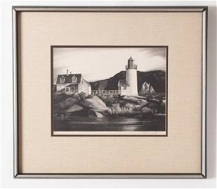 Stow Wengenroth Lithograph, Harbor Light, 1934
