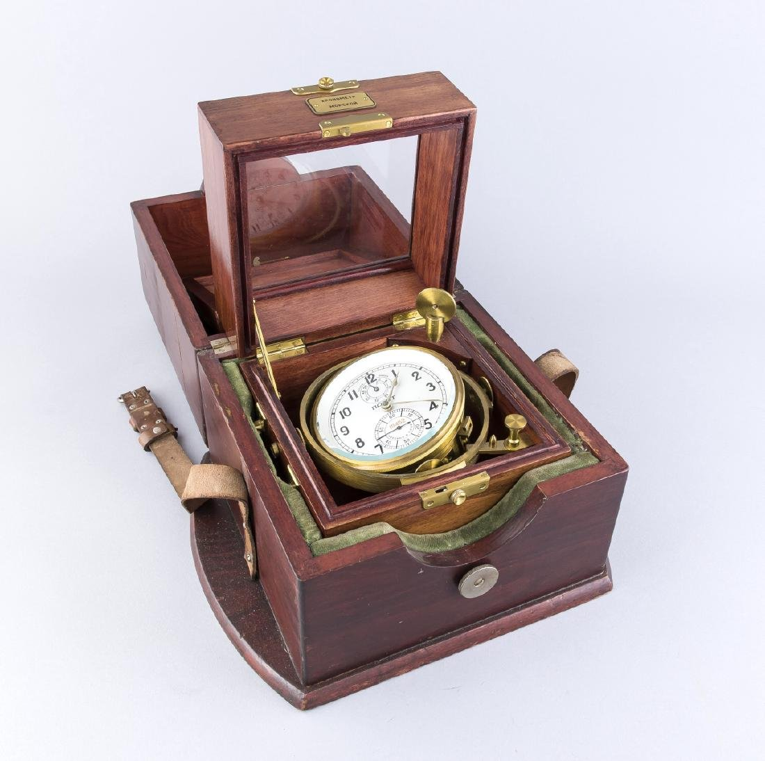 Old Russian brass shipping chronometer in mahogany case