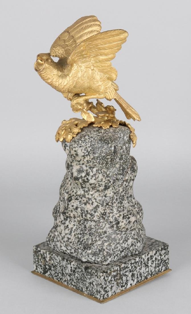 Antique fire-gilt bronze bird of prey (jay) with ring i