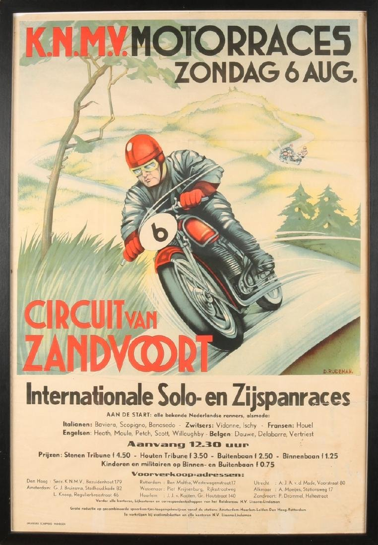 Rare Dutch poster. Circuit of Zandvoort. KNMV Motorrace