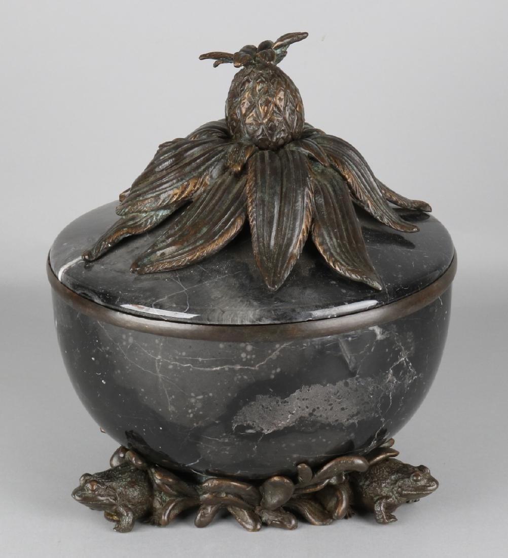 Heavy marble with bronze lid with frogs and pineapple.