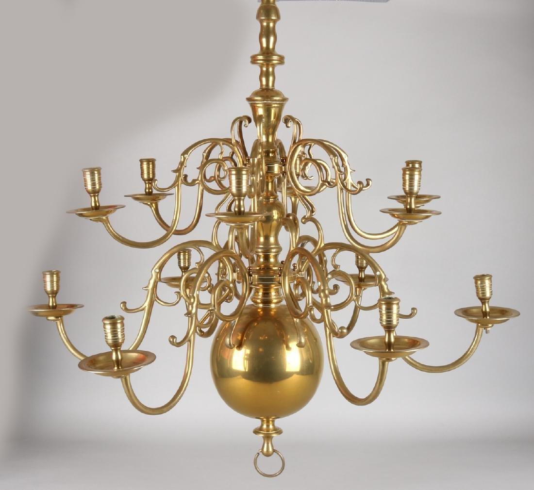 Very large Dutch antique baroque brass chandelier. 18th