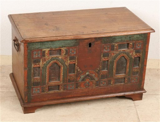 Antique Oriental Painted Teak Box Circa 1900 Lock Mis